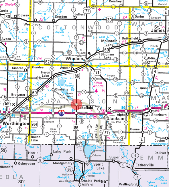Minnesota State Highway Map of the Lakefield Minnesota area