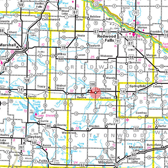 Minnesota State Highway Map of the Lamberton Minnesota area