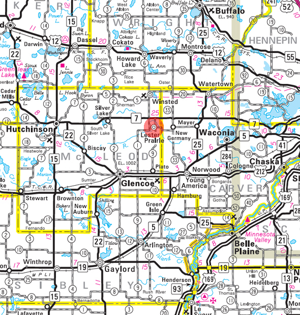 Minnesota State Highway Map of the Lester Prairie Minnesota area