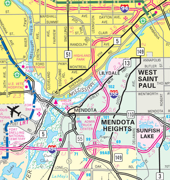 Minnesota State Highway Map of the Lilydale Minnesota area