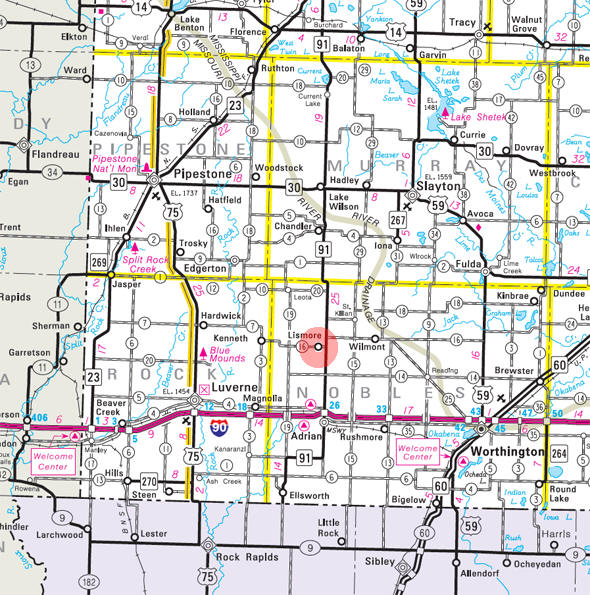 Minnesota State Highway Map of the Lismore Minnesota area