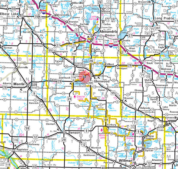 Minnesota State Highway Map of the Long Beach Minnesota area