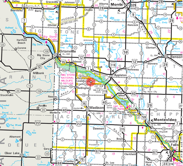 Minnesota State Highway Map of the Louisburg Minnesota area