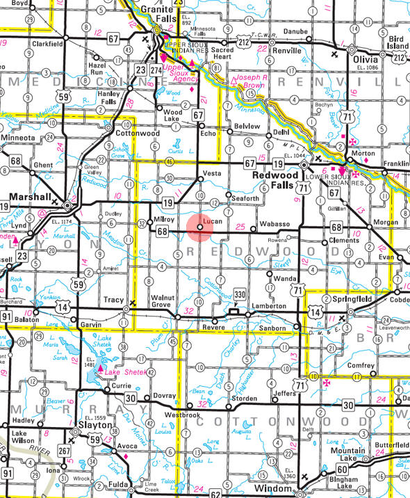 Minnesota State Highway Map of the Lucan Minnesota area