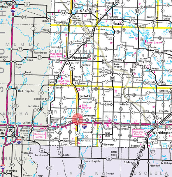 Minnesota State Highway Map of the Luverne Minnesota area