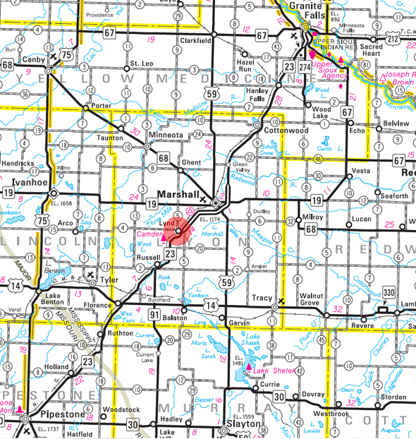 Minnesota State Highway Map of the Lynd Minnesota area