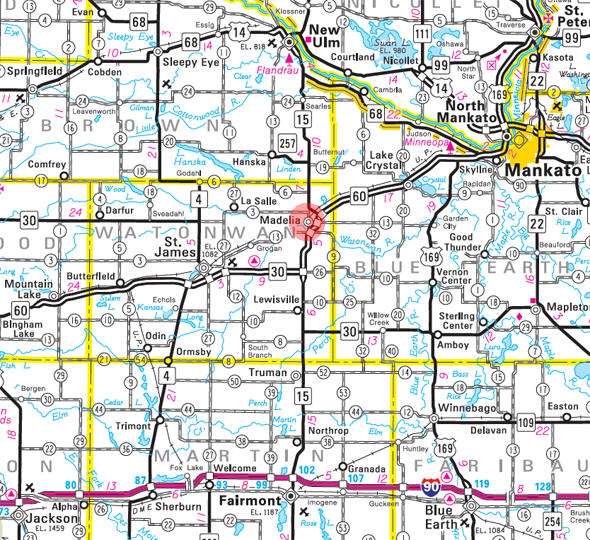 Minnesota State Highway Map of the Madelia Minnesota area