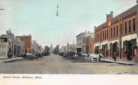 Street scene, Madison Minnesota, 1909