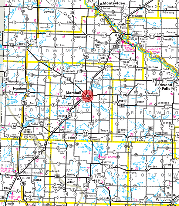 Minnesota State Highway Map of the Marshall Minnesota area