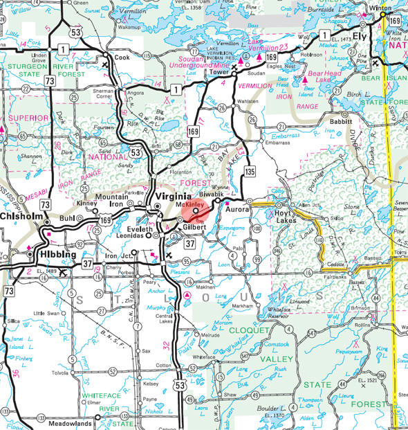 Minnesota State Highway Map of the McKinley Minnesota area