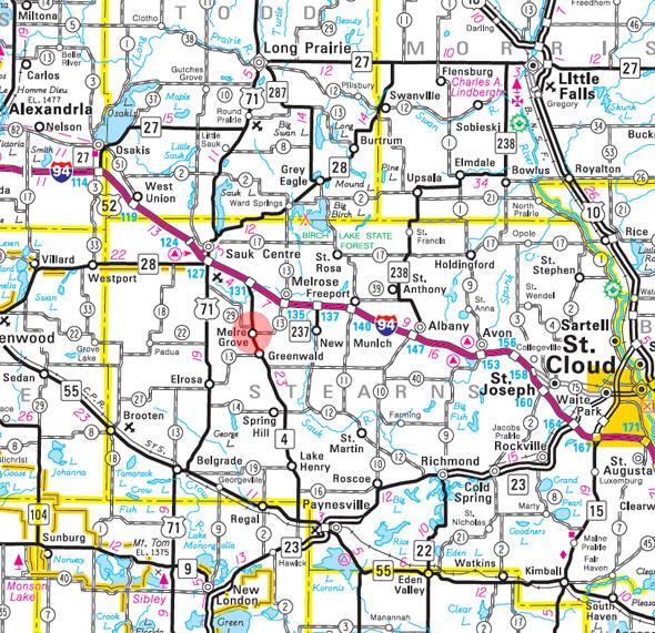 Minnesota State Highway Map of the Meire Grove Minnesota area