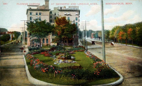Flower Garden at Hennepin and Lyndale Avenues, Minneapolis Minnesota, 1909