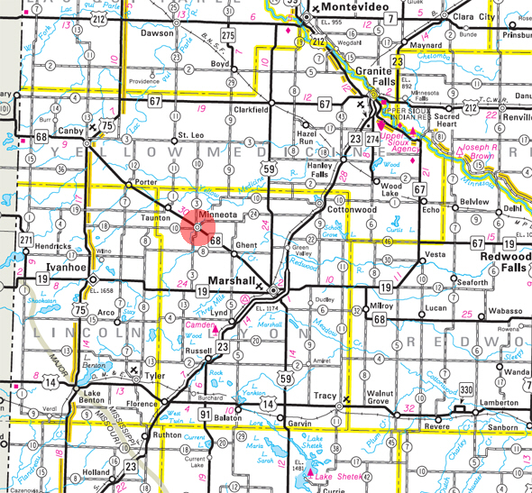 Minnesota State Highway Map of the Minneota Minnesota area