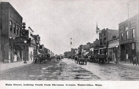 Main Street looking south from Sherman Avenue, Montevideo Minnesota, 1910's