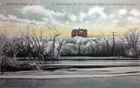 A winter scene of The Chippewa River and Windom Institute, Montevideo Minnesota, 1910's
