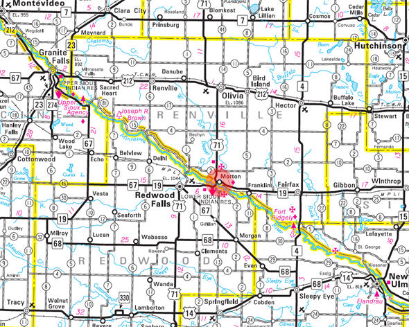 Minnesota State Highway Map of the Morton Minnesota area
