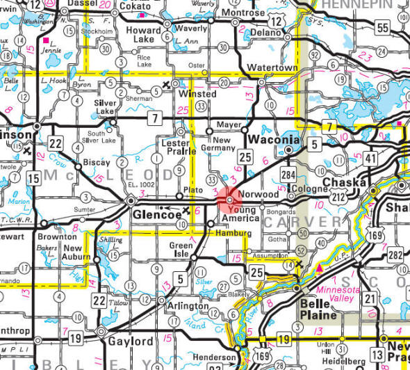 Minnesota State Highway Map of the Norwood Young America Minnesota area