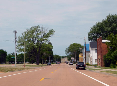 View of Broadway Street looking west, New Germany Minnesota, 2020