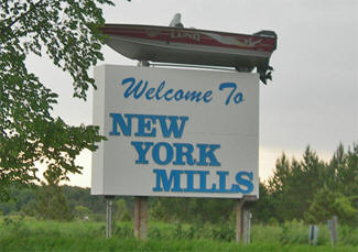 Welcome sign, New York Mills Minnesota