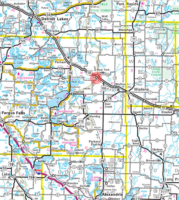 Minnesota State Highway Map of the New York Mills Minnesota area