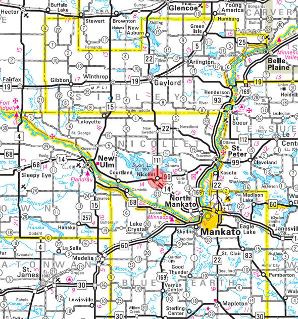 Minnesota State Highway Map of the Nicollet Minnesota area