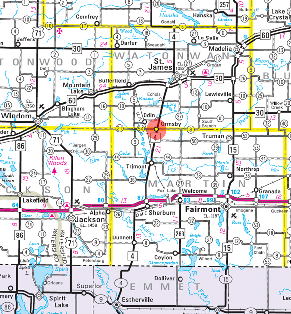 Minnesota State Highway Map of the Ormsby Minnesota area