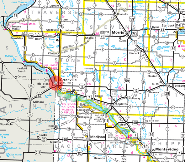 Minnesota State Highway Map of the Ortonville Minnesota area