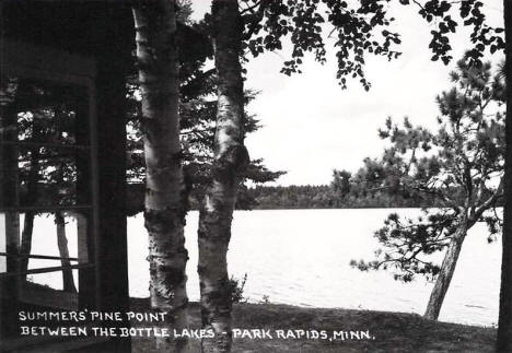 Summer's Pine Point, between the Bottle Lakes, PArk Rapids Minnesota, 1950's