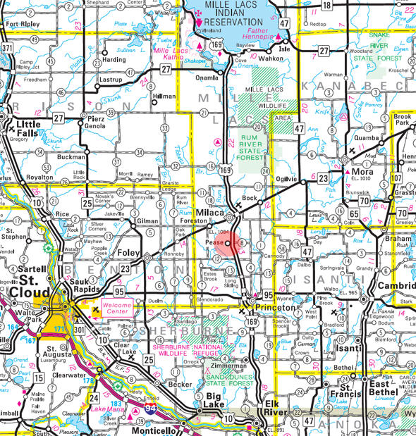 Minnesota State Highway Map of the Pease Minnesota area