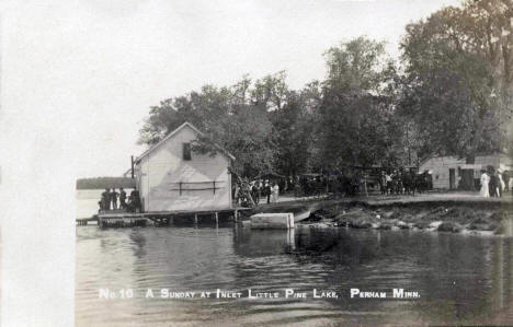 A Sunday at the Inlet, Little Pine Lake, Perham Minnesota, 1910's