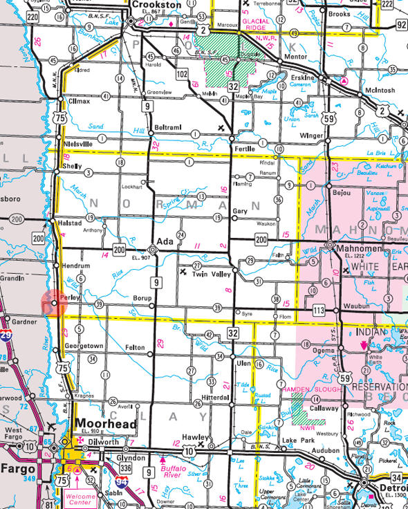 Minnesota State Highway Map of the Perley Minnesota area