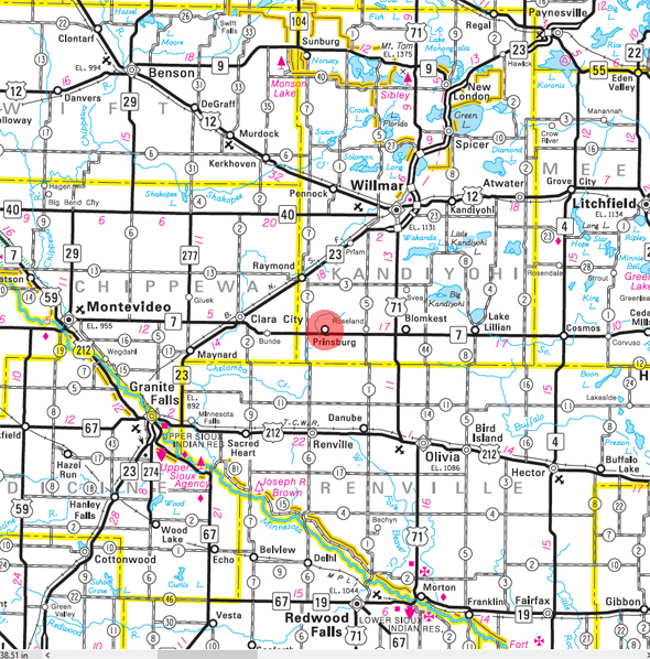 Minnesota State Highway Map of the Prinsburg Minnesota area