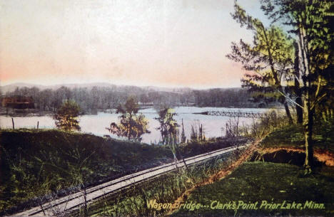 Wagon Bridge and Clark's Point, Prior Lake Minnesota, 1908