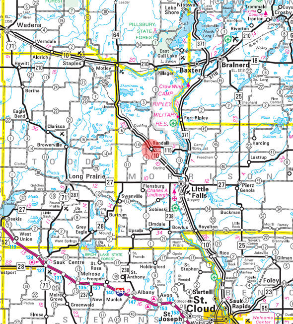 Minnesota State Highway Map of the Randall Minnesota area