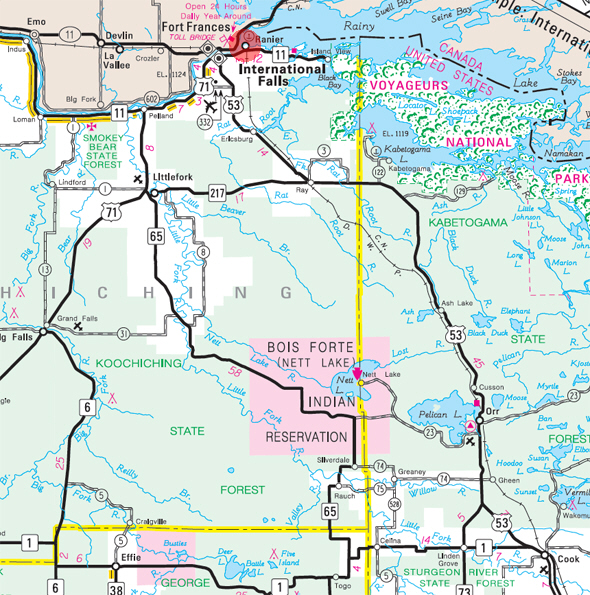 Minnesota State Highway Map of the Ranier Minnesota area