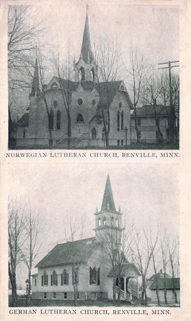Norwegian Lutheran Church and German Lutheran Church, Renville Minesota, 1910