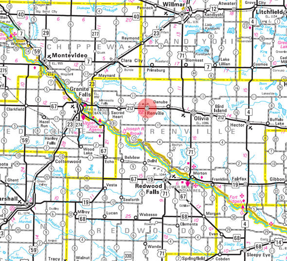 Minnesota State Highway Map of the Renville Minnesota area