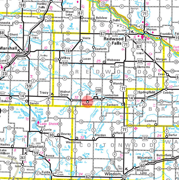 Minnesota State Highway Map of the Revere Minnesota area