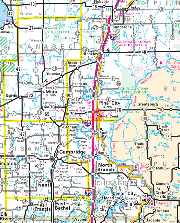 Minnesota State Highway Map of the Rock Creek Minnesota area