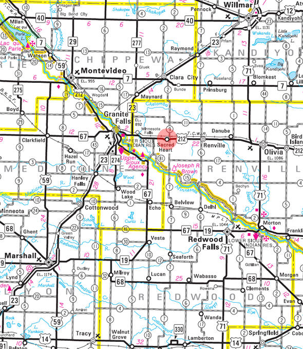Minnesota State Highway Map of the Sacred Heart Minnesota area
