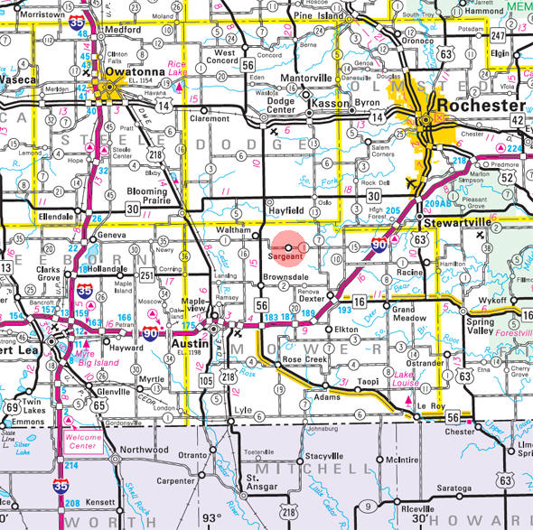 Minnesota State Highway Map of the Sargeant Minnesota area