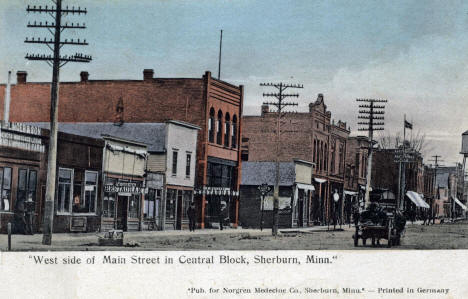 West side of Main Street in Central Block, Sherburn Minnesota, 1909