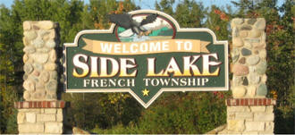 Welcome sign, Side Lake Minnesota