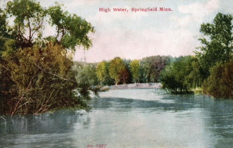 High Water on the Cottonwood River, Springfield Minnesota, 1908