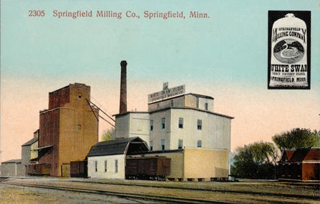 Springfield Milling Company and a sack of White Swan Flour, Springfield, Minnesota, 1910
