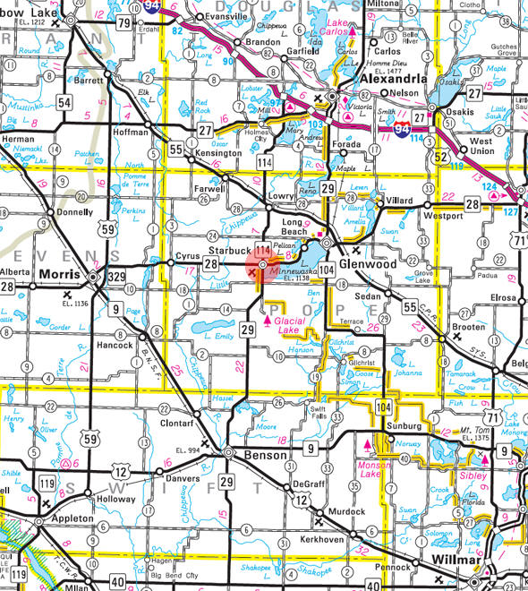 Minnesota State Highway Map of the Starbuck Minnesota area