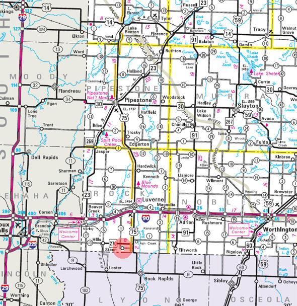 Minnesota State Highway Map of the Steen Minnesota area