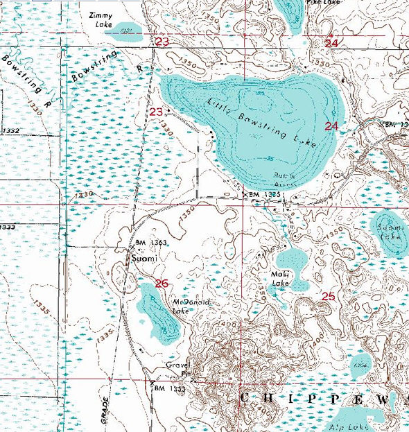 Topographic map of the Suomi Minnesota area