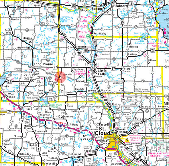 Minnesota State Highway Map of the Swanville Minnesota area