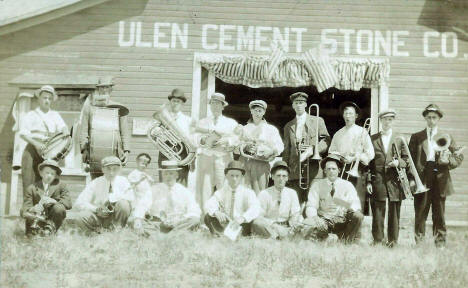 Band in front of Ulen Cement Company, Ulen Minnesota, 1910's